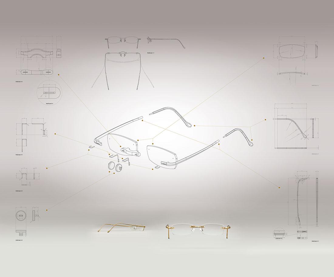 Technische Zeichnung Brille
